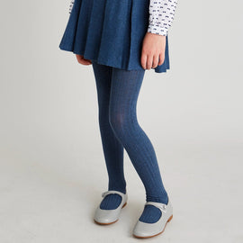 Denim Ribbed Tights - Tights - PEPA AND CO