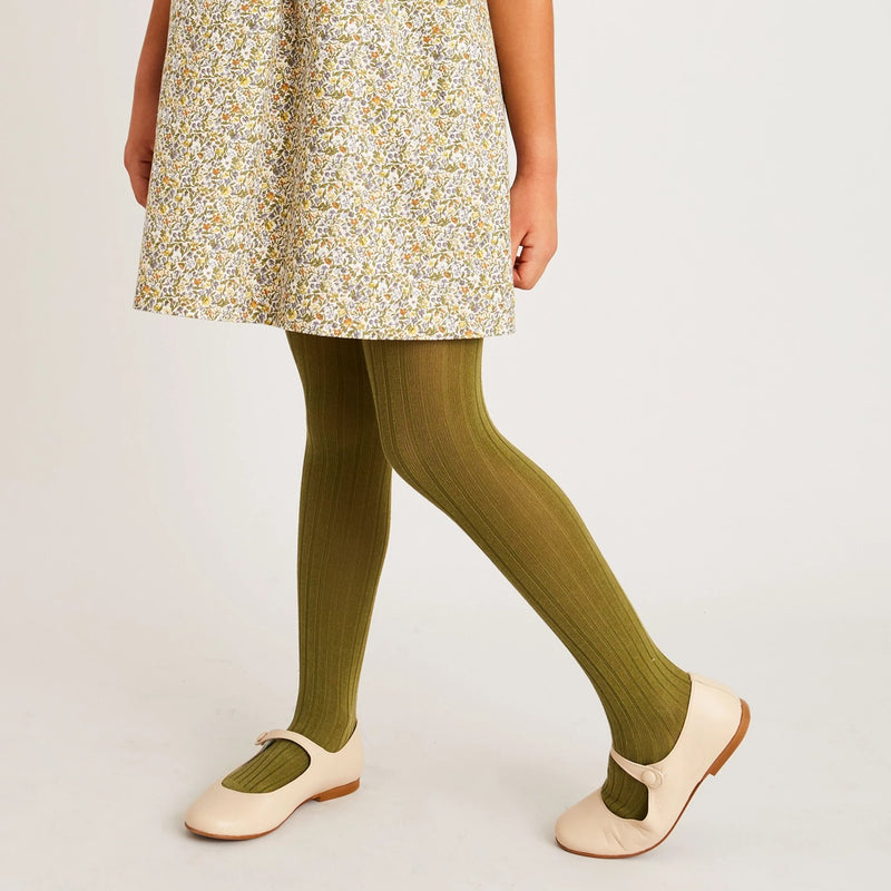 Green Ribbed Tights - Tights - PEPA AND CO