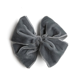 Velvet Grey Big Bow Clip - HAIR ACCESSORIES - PEPA AND CO