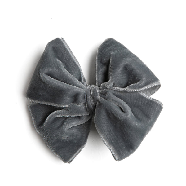 Grey Velvet Big Bow Clip - Hair Accessories - PEPA AND CO