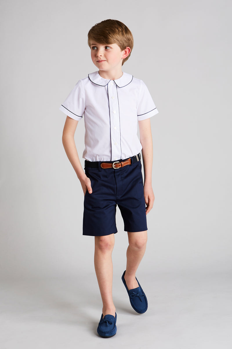 Classic White Cotton Shirt with Navy Trim - Shirt - PEPA AND CO
