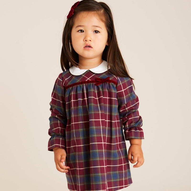 Baby Girl's Traditional Burgundy Tartan Dress - DRESS - PEPA AND CO