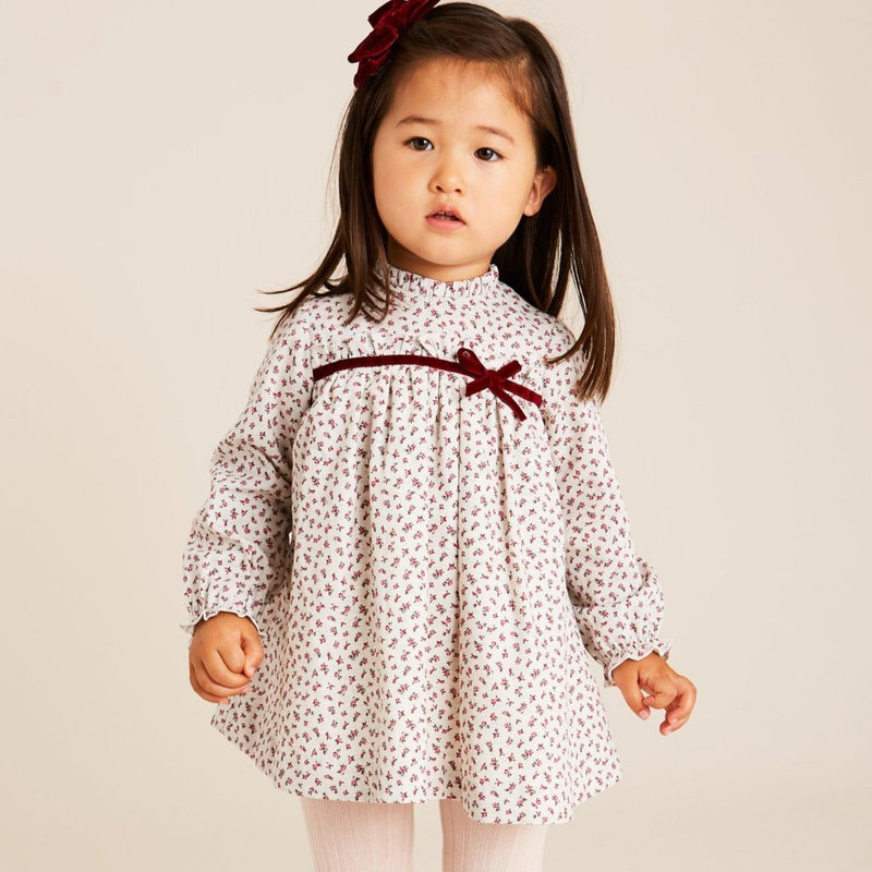 Grey Floral Dress with Burgundy Velvet Bow - DRESS - PEPA AND CO