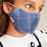 Navy Checked Face Mask with Pouch - ACCESSORIES - PEPA AND CO