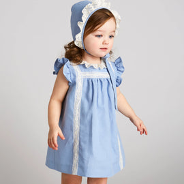Romantic Blue Linen Dress with Lace - Dress - PEPA AND CO
