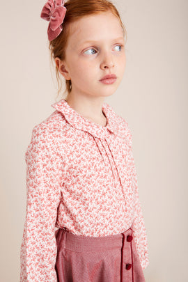 Burgundy Floral Blouse with Peter Pan Collar - BLOUSE - PEPA AND CO