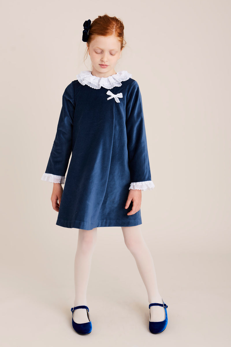Blue Velvet Dress with White Lace Detailing - DRESS - PEPA AND CO