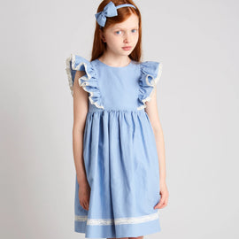 Blue Linen Dress with Lace Embroidery - Dress - PEPA AND CO