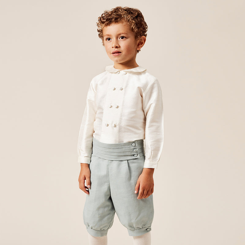 Boy's white double-breasted Peter Pan collar silk shirt - Shirt - PEPA AND CO