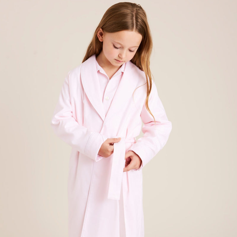 Girls Classic Pink Striped Dressing Gown - NIGHTWEAR - PEPA AND CO