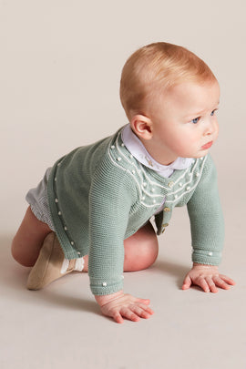 Delicate Green Knitted Baby Cardigan - Knitwear - PEPA AND CO