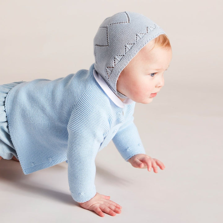 Blue Knitted Cotton Bonnet - Knitted Acc - PEPA AND CO