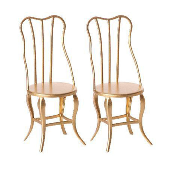 Micro vintage chair pair in gold