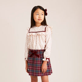 Red Tartan Skirt with Velvet Bow - SKIRT - PEPA AND CO