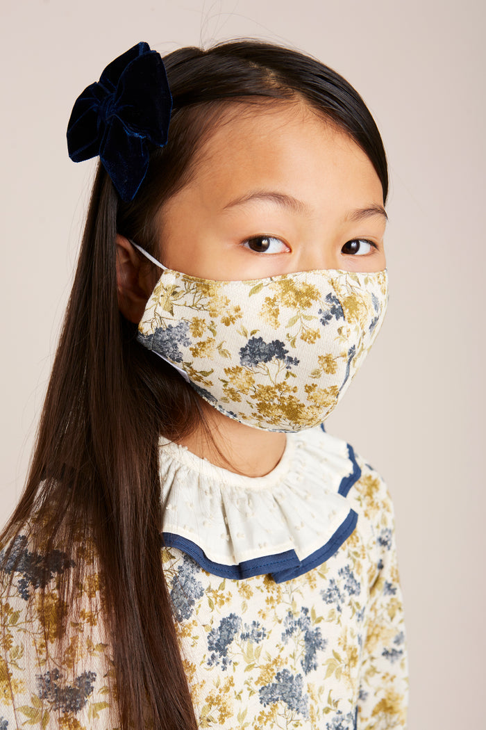 Cream & Blue Floral Face Mask with Pouch - Accessories - PEPA AND CO