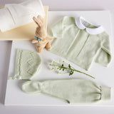 Green Cotton Set with White Dotted Peter Pan Collar - Set - PEPA AND CO