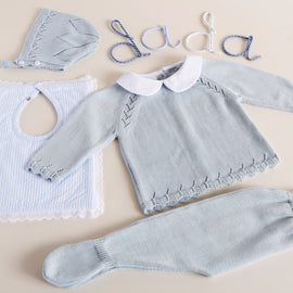 Blue Knitted Set with Peter Pan Collar - KNITWEAR - PEPA AND CO