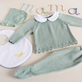 Green Knitted Set with Peter Pan Collar - SET - PEPA AND CO