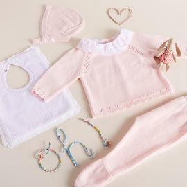 Pink Knitted Set with Frill Collar - SET - PEPA AND CO