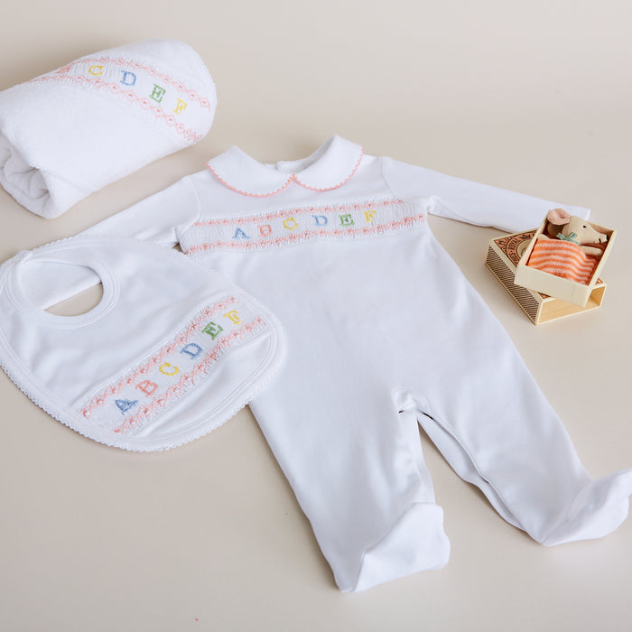 White All-in-One with Pink ABC Detailing - NIGHTWEAR - PEPA AND CO