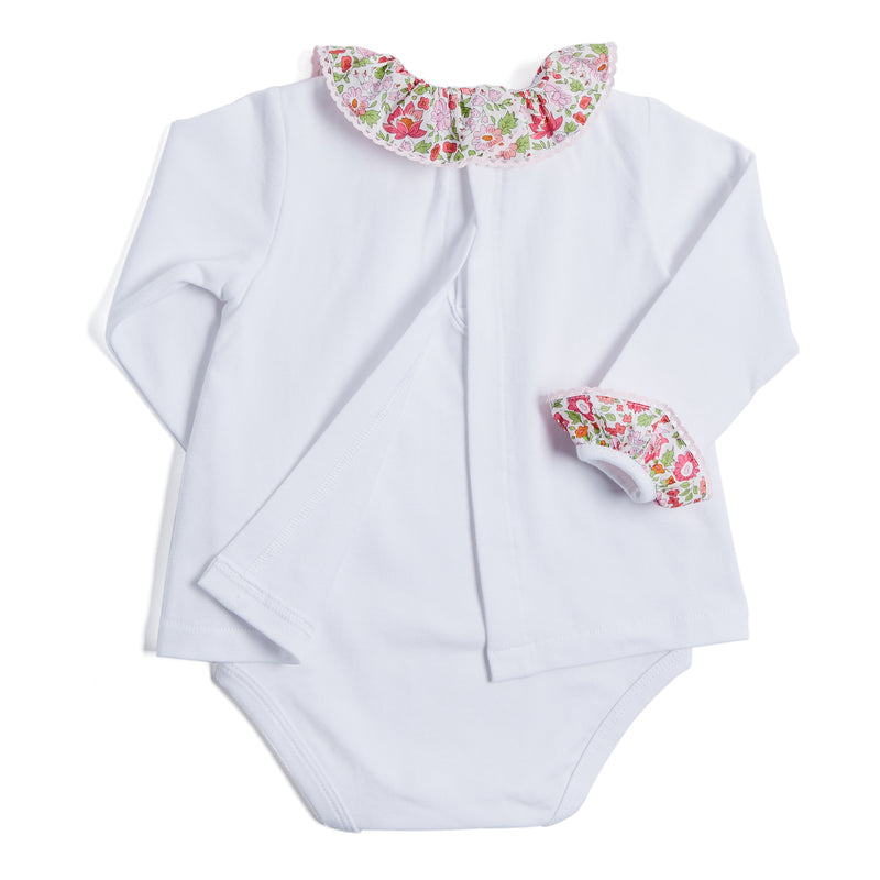 White Cotton Bodysuit with Pink Liberty Floral Collar - BODYSUIT - PEPA AND CO