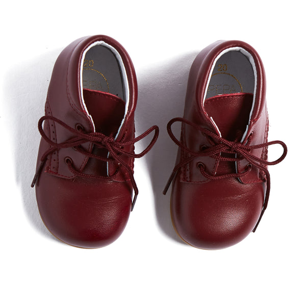 Burgundy Oxford Baby Booties - SHOES - PEPA AND CO