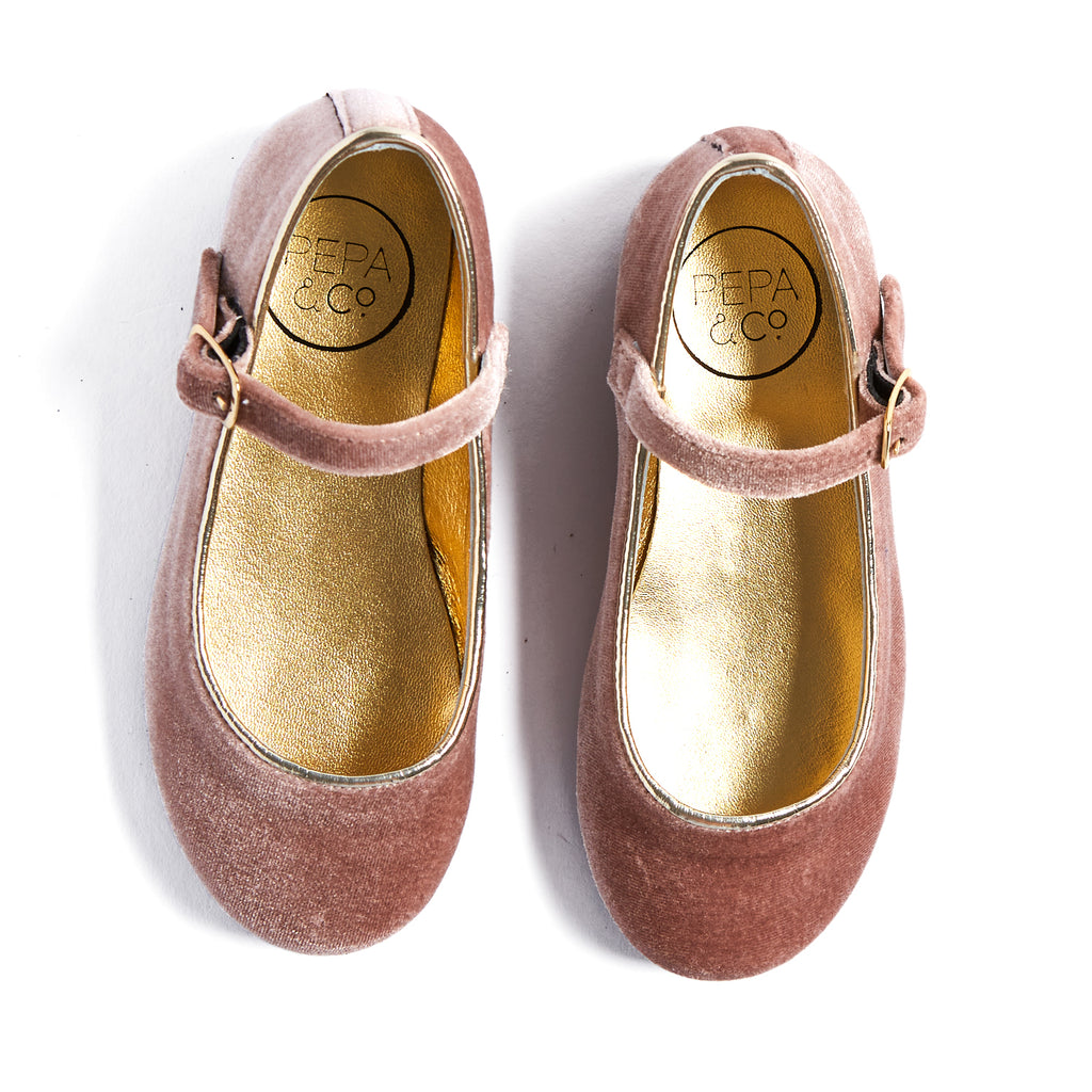 Pink Velvet Mary Jane Shoes - SHOES - PEPA AND CO