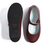 Girls Burgundy Leather Mary Jane Shoes - SHOES - PEPA AND CO