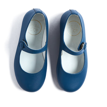 Girls Leather Blue Mary-Jane Shoes - SHOES - PEPA AND CO
