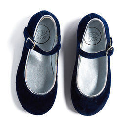 Navy Velvet Mary Jane Shoes - SHOES - PEPA AND CO