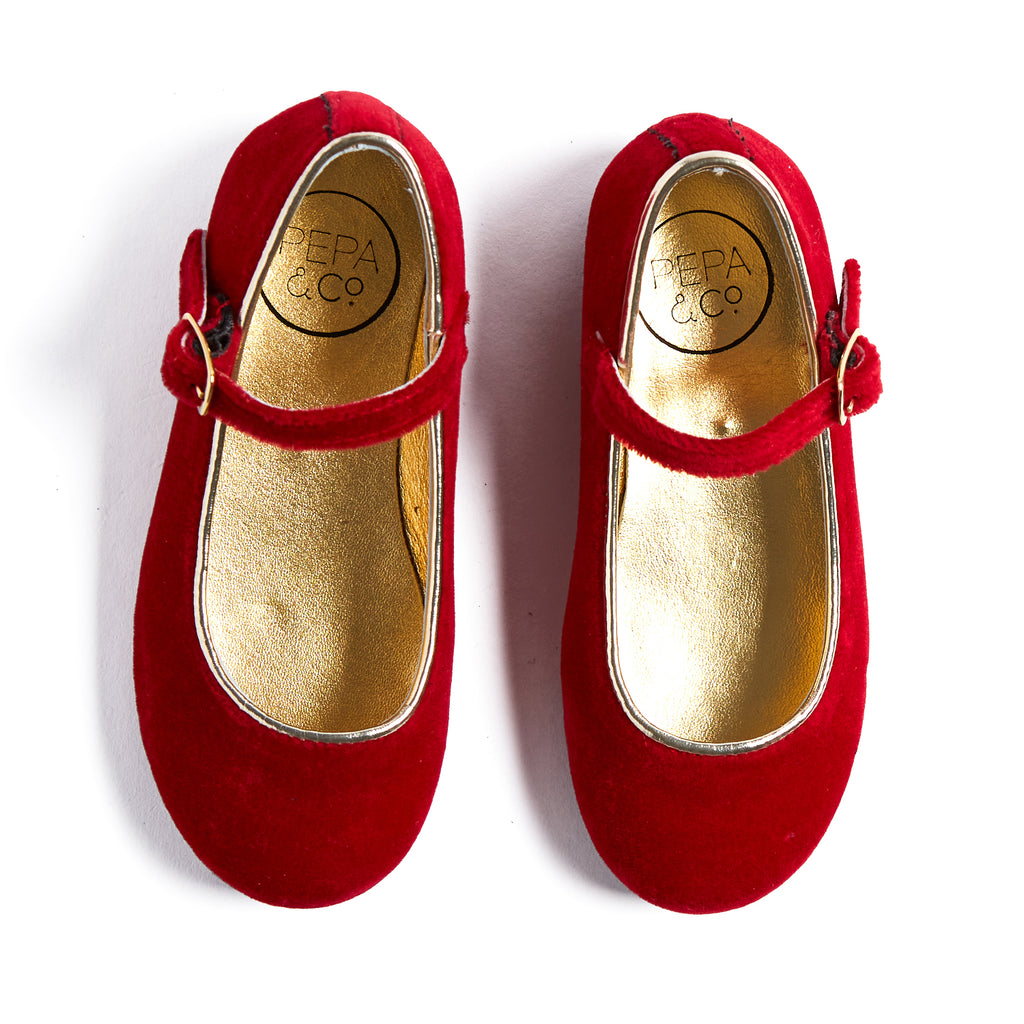 Red Velvet Mary Jane Shoes - SHOES - PEPA AND CO