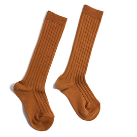 Tan Ribbed Knee-High Socks - Socks - PEPA AND CO