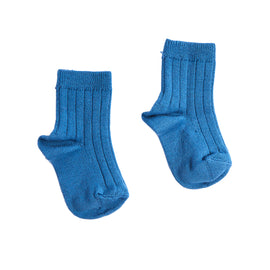 Ribbed Short Socks - Blue - Socks - PEPA AND CO