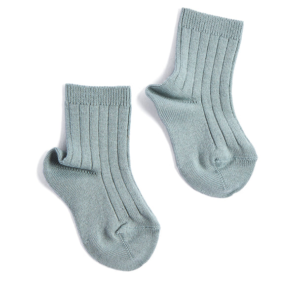 Ribbed Short Socks - Dusty Green - Socks - PEPA AND CO