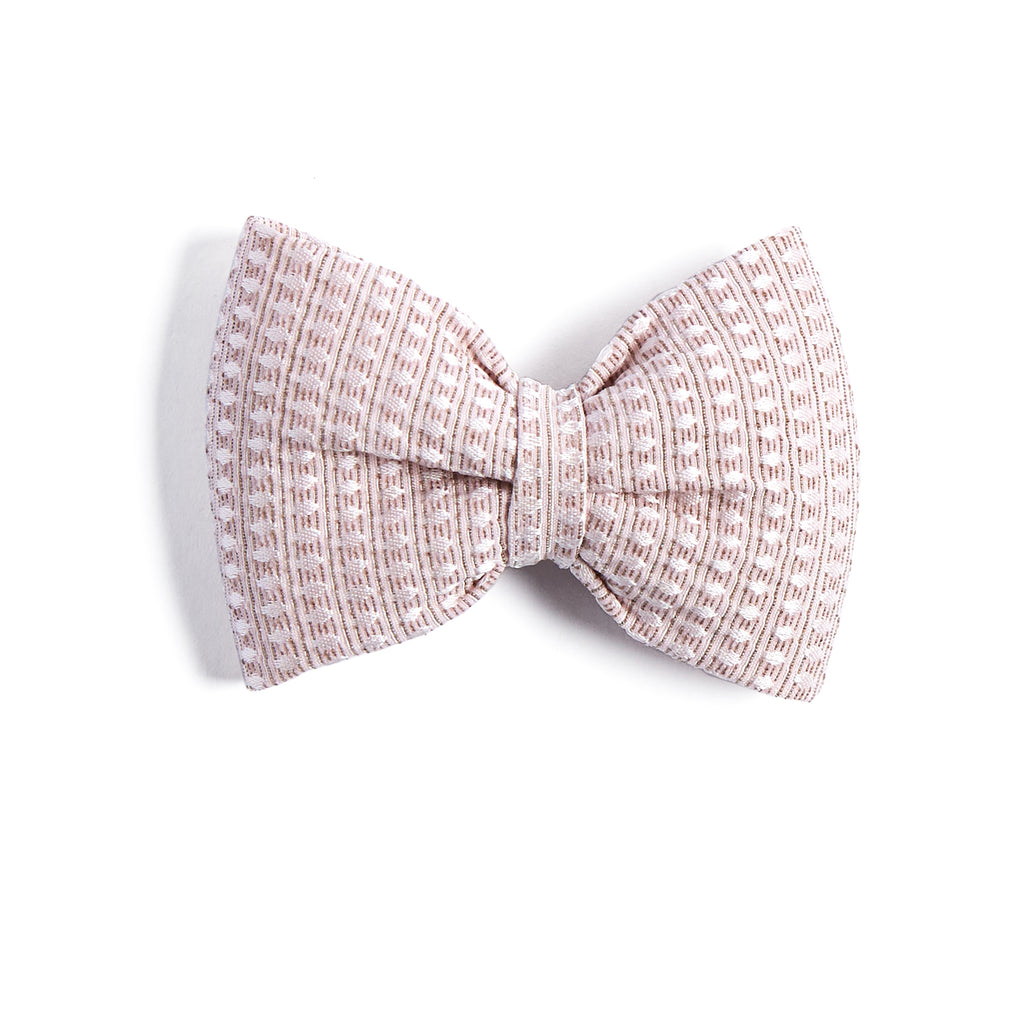 Jacquard Pink Bow Clip - HAIR ACCESSORIES - PEPA AND CO
