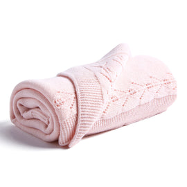 Pink Knitted Openwork Blanket - Blanket - PEPA AND CO