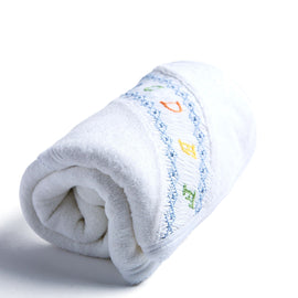 White Towel with Blue ABC Detailing - TOWEL - PEPA AND CO