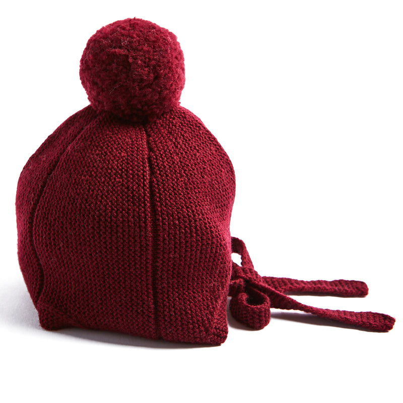 Burgundy Knitted Winter Bonnet - KNITTED ACC - PEPA AND CO
