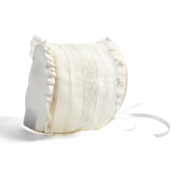 Cream Lace Christening Bonnet with Frill - CHRISTENING BONNET - PEPA AND CO