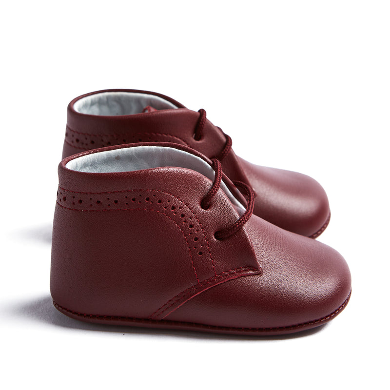 Burgundy Oxford Pram Booties - SHOES - PEPA AND CO