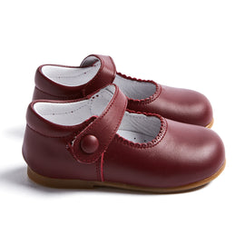 Leather Burgundy Mary Jane Baby Shoes - SHOES - PEPA AND CO