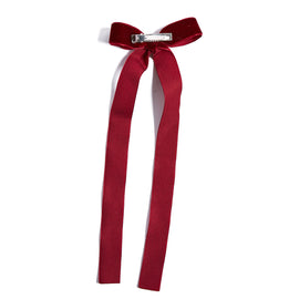 Velvet Burgundy Long Bow Clip - HAIR ACCESSORIES - PEPA AND CO
