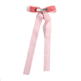 Velvet Pink Long Bow Clip - HAIR ACCESSORIES - PEPA AND CO