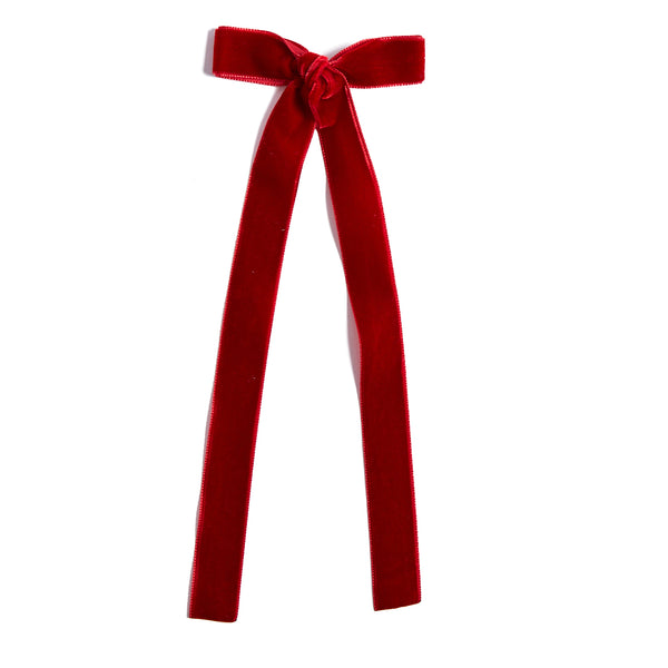 Velvet Red Long Bow Clip - HAIR ACCESSORIES - PEPA AND CO