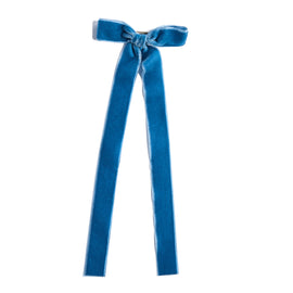 Velvet Blue Long Bow Clip - HAIR ACCESSORIES - PEPA AND CO