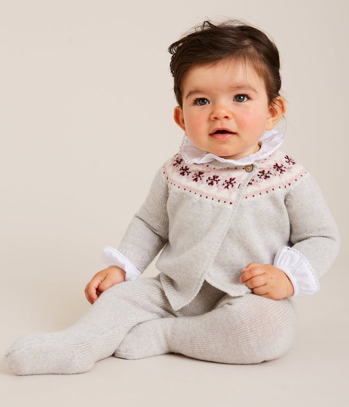 Grey Knitted Wool Set with Fairisle Detailing - KNITTED - PEPA AND CO