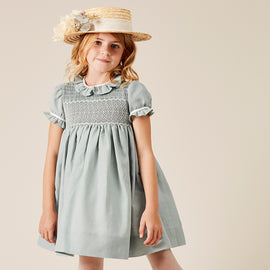 Teal Flower Girl Occasion Dress with Ivory Handsmocking - Dress - PEPA AND CO