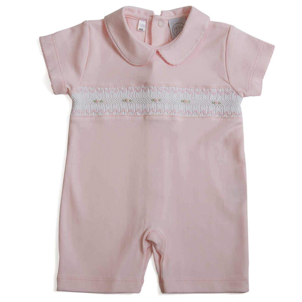 Soft Cotton Baby Girls Short smocked Pyjama in Pink - Pyjama - PEPA AND CO