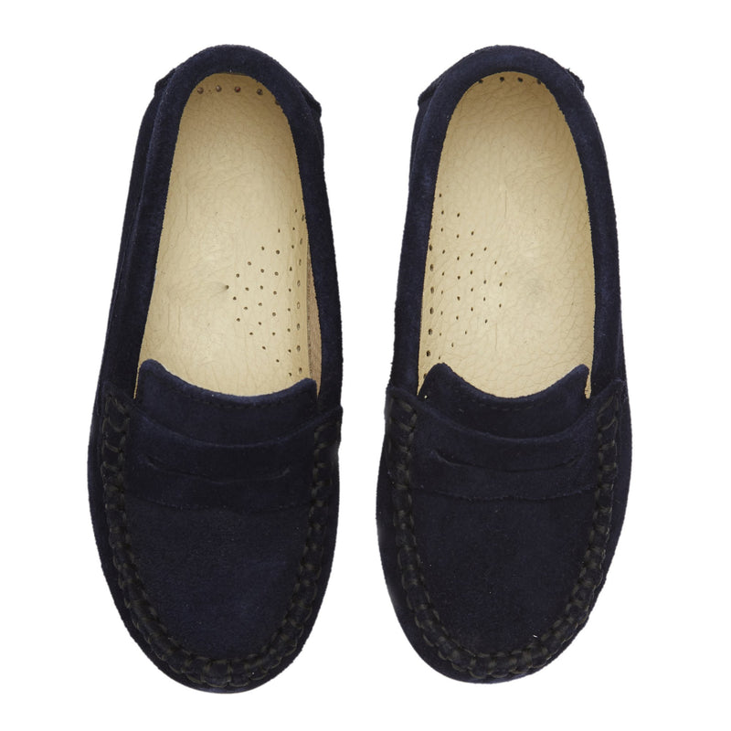 Boys Navy Suede Loafers with cut-out strap Detail