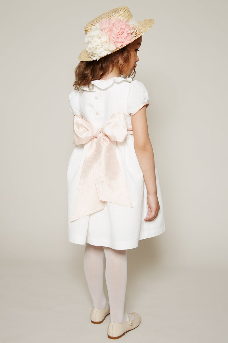 Flower girl's white dress with pink silk sash